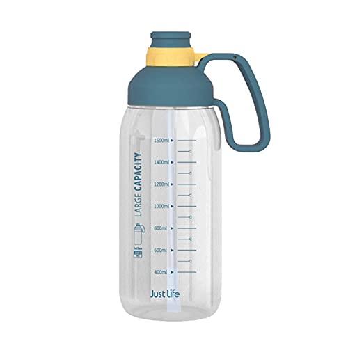 Conjunto De 2 Botella De Agua Deportiva con Paja,BPA Free Tritan Plástico Botella De Agua para Tú Y Mujeres,1800ML Reutilizable Botella,Grye Capacidad Taza,Transparente-A 1800ml