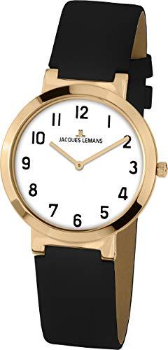 Klassisch elegante JACQUES LEMANS Damenuhr mit Lederband 1-1997K
