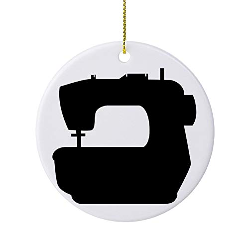 Adornos de Navidad para árbol de vacaciones, silueta de una máquina de coser en ambos lados, adorno redondo de cerámica para manualidades de Acción de Gracias