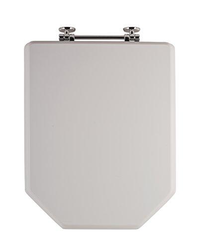 Sanitop-Wingenroth Weißer WC-Sitz Athenas | Stabiler Holzkern Toilettendeckel | Eckige Form | Toilettensitz passend für Serie Athenas | Metallscharnier | Komfort Klodeckel | Weiß | 56696 4