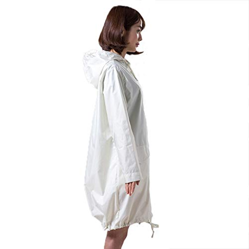 WXX-tarpaulin Poncho de Pluie, Pluie Raincoat Motorcycle Suits EVA imperméable Respirant Coupe-Vent Femmes Manteau Long à Capuchon Veste de Pluie (Color : White, Size : L)