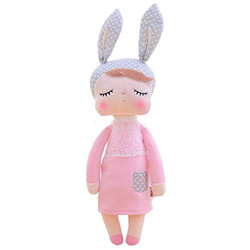 Das Original! Hasenmädchen Angela, Puppe in rosa mit Hasenohren. Niedliche, schlafende Hasenpuppe / Plüschpuppe. Bunny Rabbit Girl. Kuschelweiche ... grauen Ohren/Mütze mit 32 cm/13 von Metoo.