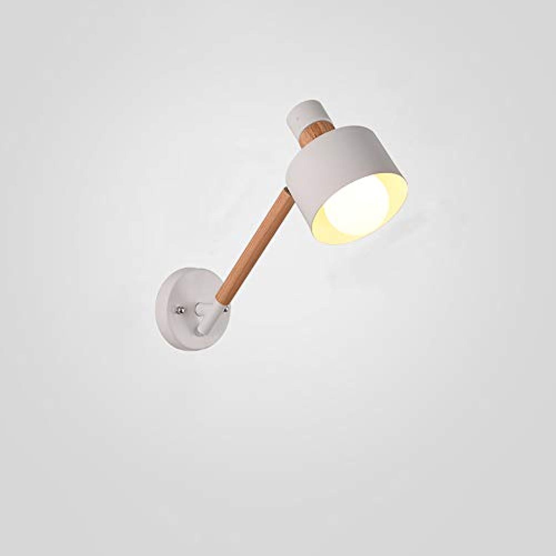 Ganeep Moderne Holz Wandleuchte Montiert Nacht Leselampe Kreative Schmiedeeisen Wandleuchte Wohnzimmer Foyer Wand Laterne Lange Pole E27 LED Wandleuchte (Farbe   Weiß)