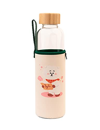 Botella agua BT21 Rj - Botella agua cristal - Botella termica 500ml - Botella agua niños sin bpa / Botella agua reutilizable - Producto con licencia oficial