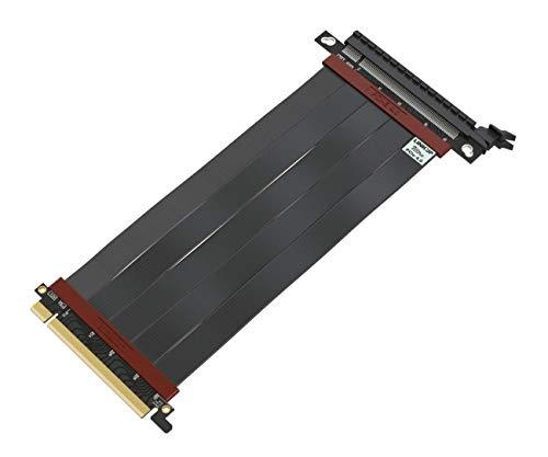 LINKUP - Ultra PCIe 4.0 X16 Riser Kabel [RTX3080 RX5700XT Getestet] Geschirmte Twinaxial Vertikale Steigleitung Portverlängerungs Gen4 | Gerade Buchse {20 cm} PCI Express 3.0 Gen3 und TT Kompatibel-