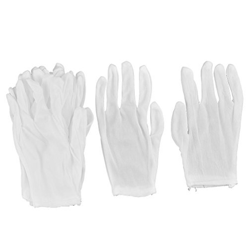DealMux Cotton Blends Working Elastic Breathable Solid Hand Protect Gloves 5 Pairs White