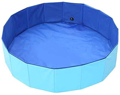 Puppy Pool Baby Pool Foldable Pool for Dog Cat And Kids Delicacy Foldable Pet Dogs Paddling Pool Puppy Cats Swimming Bathing Tub Paddling Pool for Pets Swimming Pool -(φ32''x 12''H/φ80cm x 30cmH)_Blue