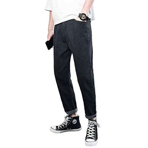 Herren Jeans Frühling und Sommer Dünne, einfache Persönlichkeit Ripped Jeans Trendy Casual und Bequeme Straight Jeans 32