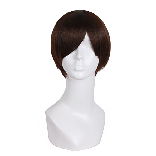 MapofBeauty Fashion Men s Short Straight Wig (Dark Brown)