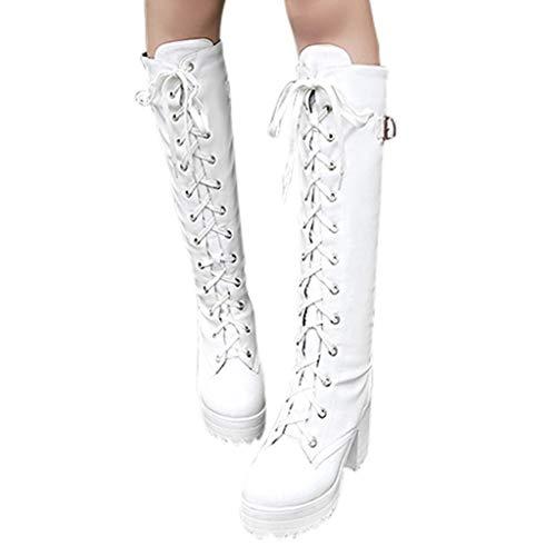 Damen Stiefel Sexy High Heel Schnürung Dickes Plateau Knie Quadratischer Absatz Stiefel Schneestiefel Schuhen (38 EU,Weiß)