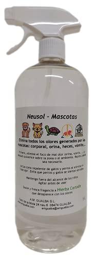 Neusol Mascotas 1L Quita olor de perros y gatos. Elimina orina y marcaje. Actúa como repelente/ahuyentador, los espanta. Efectivo y económico