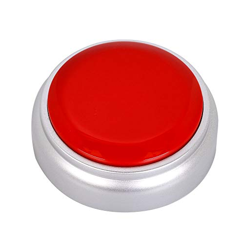 Neutral Voice Recording Button Easy Button Record 30 Seconds Talking Message Funny Office Gift Battery Powered Recordable Sound Buttons(red+Silver)