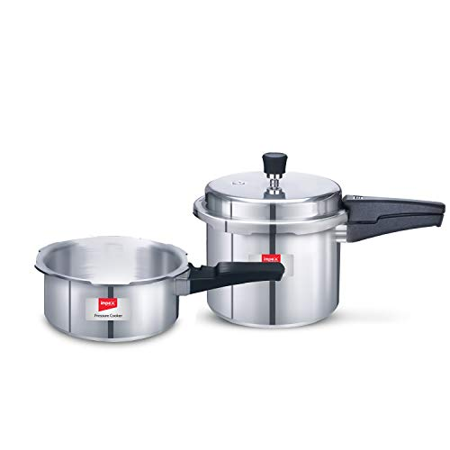 Impex IFC-23 Induction Base Aluminium Pressure Cooker Family Combo with Outer Lid(Set of 2 & 3 Litre)