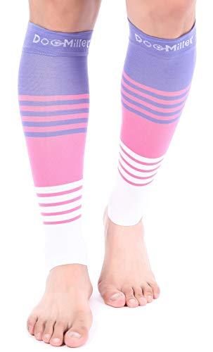 Mangas de compresión Doc Miller para pantorrilla, 1 par, 20-30 mmHg, soporte fuerte de pantorrilla, calcetines sin dedos para correr, recuperación varicosa, venas, XL, 2XL, 3XL, 4332594997, M, Rosa.violeta.blanco