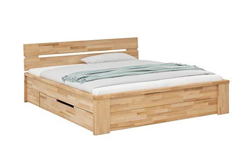 Holzwerk - Letto in legno massiccio Pesaro, letto matrimoniale a cassetto, in legno di faggio massiccio, 140 x 200 cm, in confezione originale