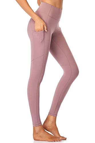 Leggings with Pockets for Women Butt Lift High Waisted Tummy Control Not See Through Squat Proof Dusty Pink
