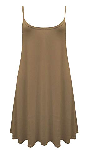 Real Life Fashion Ltd Damen Cami Swing Kleid mit Trägern Swing Kleid Mädchen Cami Top Gr. XXL 46-48, Mokka