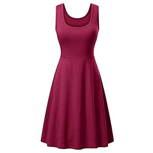 Zhihui Vestido largo de verano para mujer con cuello en U sin mangas de una línea de tallas grandes, casual, sexy, color sólido, color liso, sin mangas, vestido largo