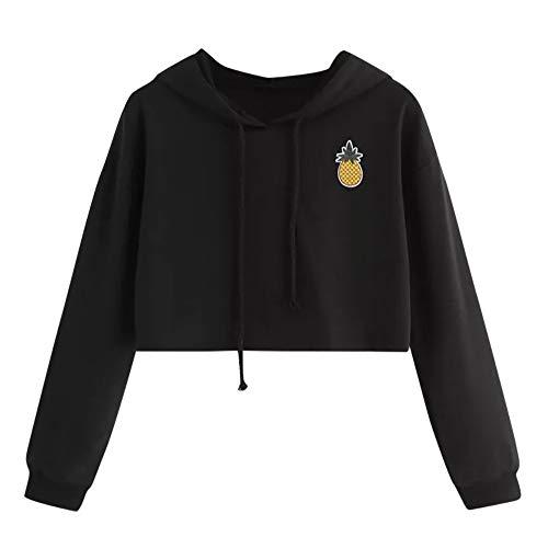 Zimuuy Damen Hoodie Sweatshirt Ananas Appliques Pullover Bauchfrei Kapuzenpullover (Schwarz, S)
