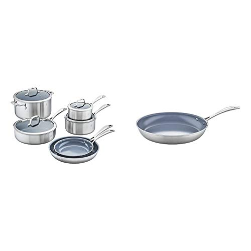 of zwilling j a henckels cookware sets Zwilling J.A. Henckels Spirit Ceramic Nonstick Cookware Set, 10-pc, Stainless Steel & Spirit Ceramic Nonstick Fry Pan, 12-inch, Stainless Steel