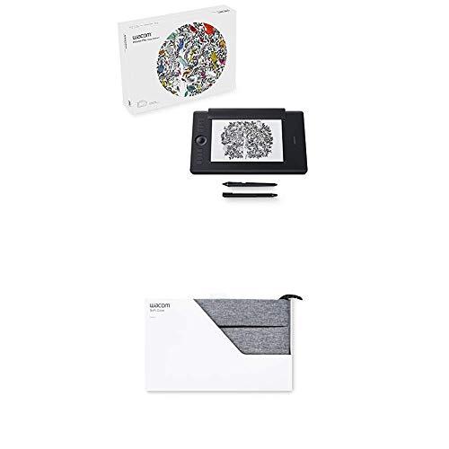 Wacom Intuos Pro Paper M Grafik-Tablet und Stift, DE/EN/PL/SE-Sprachversion, schwarz plus Soft Schutzhülle Medium grau