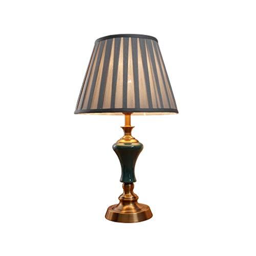 Lamparilla de noche Lámpara de mesa moderna medieval, iluminación del hogar, lámpara de cerámica azul oscuro, cuerpo, pantalla de tela gris for sala de estar / familia / dormitorio Junto a la cama Lám