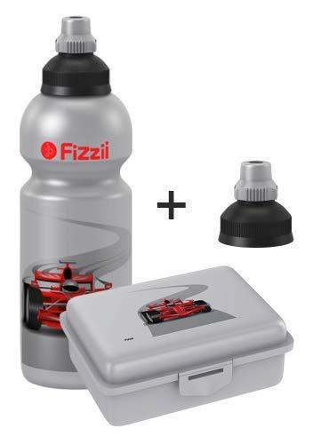 Fizzii Set Trinkflasche 600ml + Lunchbox inkl. Obst-/ Gemüsefach (schadstofffrei, spülmaschinenfest, Motiv: Rennwagen)