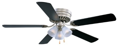 Design House 156018 Flush Mount, 5 Black Blades Ceiling fan with 50 watts light, Satin Nickel