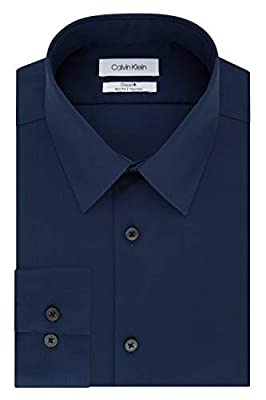 "Calvin Klein Men's Dress Shirt Slim Fit Non Iron Solid, Blue Ocean, 18"" Neck 36""-37"" Sleeve (XX-Large)"