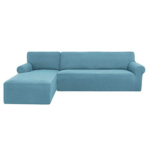 subrtex Funda Sofa Chaise Longue Brazo Izquierdo Elastica Protector para Sofa Chaise Longue Antimanchas Ajustable(Azul Claro)
