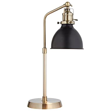 Rivet Pike Factory Industrial Table Lamp, 19  H, With Bulb, Brass with Black Shade