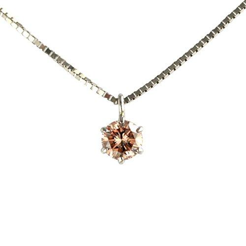 【 DIAMOND WORLD 】レディース ジュエリー PT900 ピンクダイヤモンド ペンダントネックレス 0.1ct SIクラス 中央宝石研究所 ソーティング付(鑑定書の元)