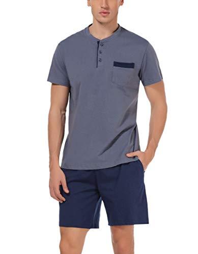 Hawiton Herren Schlafanzug kurz Sommer kurzarm Baumwolle Nachtwäsche aus weicher Baumwolle Herren Pyjamas für Herren Nachtwäsche Loungewear Dunkelgrau blau M