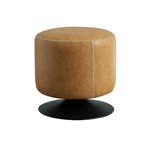 KDJB & DM voetenbank, bekleed, leer, voetenbank, ronde draaistoel van PU met metalen sokkel Modern Home Stool HENGXIAO (kleur: A)