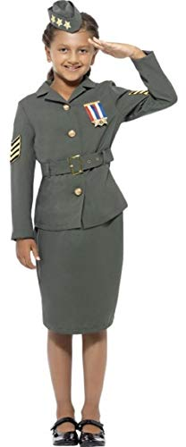 Girls 1940s WW2 Army Girl World War D-Day Land Girl Book Day Fancy Dress Costume Outfit 3-12 Years (7-9 Years) Green