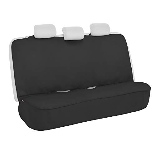 AllProtect Waterproof Neoprene Rear Bench Seat Cover for Car SUV Truck - Quick Install - Heavy Duty Universal Fit - for Work, Utility, Kids, Pets & Vehicle Protection (Solid Black)