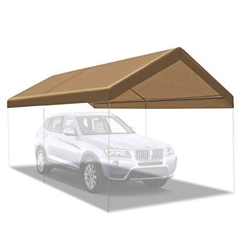 BenefitUSA Canopy ONLY 10'x20' Carport Replacement Canopy Outdoor Tent Garage Top Tarp Shelter Cover w Ball Bungees (Tan)