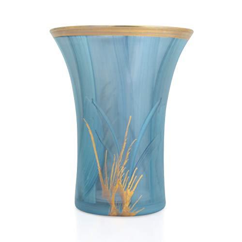 Angela nieuwe Wenen werkstaette Solero vaas, glas, turquoise, d 14, h 18 cm