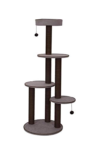 PetPals Canyon - Chenille Four Level Cat Tree with Spacious Perches & Paper Rope Post