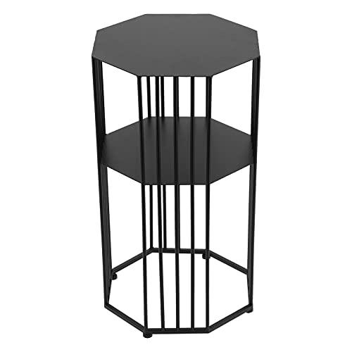 Alvinlite Tavolino da Divano, tavolino Laterale in Ferro battuto a 2 Strati, ripiano portaoggetti per Soggiorno, tavolino da caffè per la casa Nero