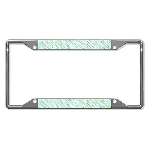 Chic Green Static Texture Car License Plate Frame - Chrome Metal Auto License Plate Frame Tag Holder Frame Cover - 12