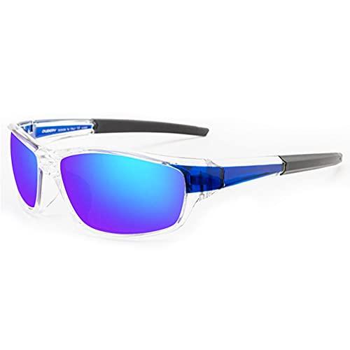 Greatangle-UK Gafas de Sol polarizadas para Hombres Tonos Masculinos Ligeros Ciclismo Conducción Pesca Gafas de protección UV 100% Gafas de Sol para Hombres Azul Transparente 70 * 42 mm