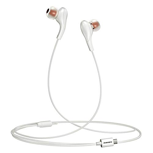 USB C Headphones, Acessorz Type-c Wired in-Ear Noise Cancelling HiFi Stereo Headphones Earphones w/Mic for iPad Pro 2018, New MacBook, Google Pixel 2/3/4 and Samsung, Huawei - White 6