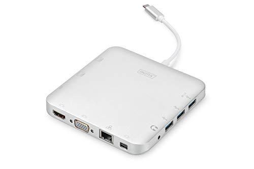 DIGITUS Multiport Docking-Station - USB-C Dock 11 Ports - HDMI mDP VGA, RJ45, 3x USB 3.0 - Ladeport, Cardreader - Silber