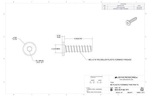 M2 X 8mm Plastic Thread Forming Screw Black Zinc Plated Steel Thin Pan Head 6-Lobe Drive (100 Pcs) - M20-80-P-BZ-TPT