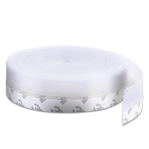 TUAKIMCE Tira de Sellado Adhesivo Autoadhesivas, 10m Silicona Burlete Cinta Calafateo Transparente Sello de puerta autoadhesivo Burlete de Silicona Protección Contra el Polvo (25mm)