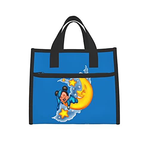 Bolsa de almuerzo aislada Mickey Mouse Moon Cooler Boxes con red impermeable bolsa de mano para mujeres escuela