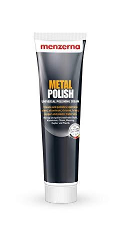 Menzerna Metal Polish Universal Metallpolitur zur Politur Creme für metallische Oberflächen Chrom Autozubehör Schmuck Musikinstrumente 125 g