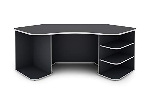 Homexperts Schreibtisch, Anthrazit - Weiß, 198x76x85cm (BxHxT)