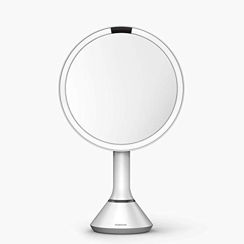 """simplehuman 8"""" Round Sensor Makeup Mirror with Touch-Control Brightness, 5x Magnification, Rechargeable and Cordless, White Stainless Steel"""